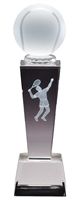 Collegiate Male Tennis<BR> Crystal Trophy<BR> 8.75 Inches