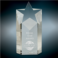 Rising Star<BR> Crystal Trophy<BR> 5.75 to 7.5 Inches