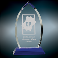 Premium Blue Cascade<BR> Crystal Trophy<BR> 9 Inches