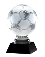 Soccer Ball<BR> Crystal Trophy<BR> 6.5 to 12 Inches