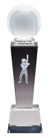 Collegiate Female Softball<BR> Crystal Trophy<BR> 8.75 Inches