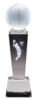 Collegiate Female Basketball<BR> Crystal Trophy<BR> 8.75 Inches