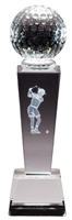 Collegiate Female Golf<BR> Crystal Trophy<BR> 8.75 Inches