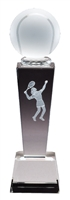 Collegiate Female Tennis<BR> Crystal Trophy<BR> 8.75 Inches