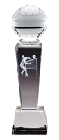 Collegiate Female Volleyball<BR> Crystal Trophy<BR> 8.75 Inches