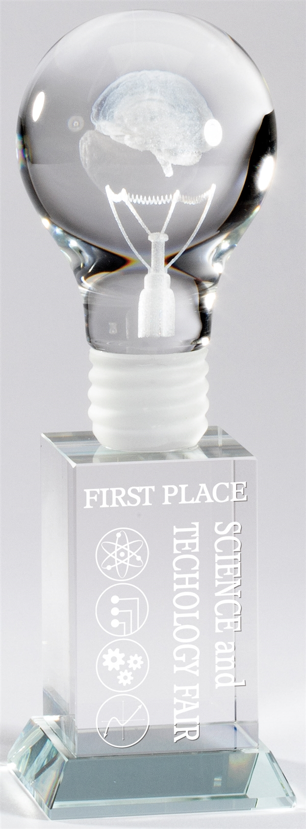 Brain Power Lightbulb<BR> Premium Crystal Trophy<BR> 8 Inches