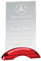 Red Billboard<BR> Crystal Trophy<BR> 7.25 to 8.75 Inches