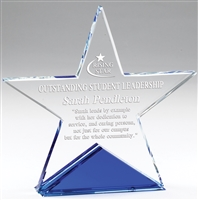 Blue Star<BR> Crystal Trophy<BR> 5 & 6 Inches