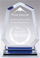 Blue Aurora Peak<BR> Crystal Trophy<BR> 7 and 8 Inches