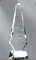 Premium Obelisk<BR> Crystal Trophy<BR> 11 to 13 Inches