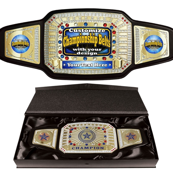 Custom Black <BR> Championship Belts<BR> 52 Inches