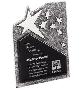 Silver Star Resin Plaque<BR> Premier Corporate<BR> 6.75 and 8 Inches