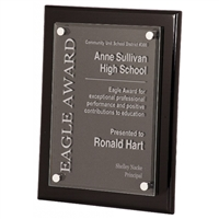 Ebony Piano Plaque<BR> Premier Corporate<BR> Floating Acrylic<BR> 8x10 & 9x12 Inches