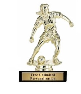 Soccer Dribble<BR> Female Trophy<BR> 6 Inches