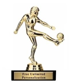 Soccer Kick<BR> Female Trophy<BR> 5.75 Inches