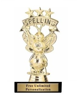 Spelling Bee with Stars<BR> Gold Trophy<BR> 5.75 Inches