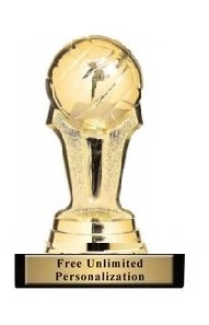 Mini Volleyball<BR> Gold Trophy<BR> 3.75 Inches