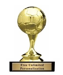 Mini Soccer Ball <BR> Gold Trophy<BR> 3.25 Inches