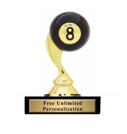 8 Ball Billiards Trophy<BR> 3.75 Inches