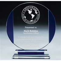 Premium Blue Round<BR> Glass Trophy<BR> 7.5 to 8.75 Inches