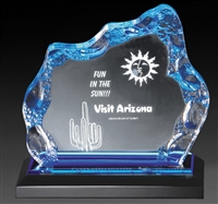 Executive Glacier<BR> Blue Acrylic Trophy<BR> 6 & 6.75 Inches