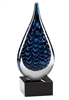 Blue Waterspout<BR> Artistic Glass Trophy<BR> 9 Inches