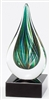Green Drop<BR> Artistic Glass Trophy<BR> 7 Inches
