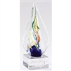 Rainbow Swirl<BR> Artistic Glass Trophy<BR> 8.75 Inches