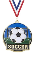 Hi Tech Soccer Medal<BR> Gold Back Only<BR> 2 Inches