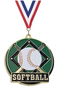 Hi Tech Softball Medal<BR> Gold Back Only<BR> 2 Inches