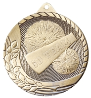 Laser Back<BR> Cheerleading Medal<BR> Gold/Silver/Bronze<BR> 2 Inches