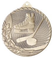 Laser Back<BR> Hockey Medal<BR> Gold/Silver/Bronze<BR> 2 Inches