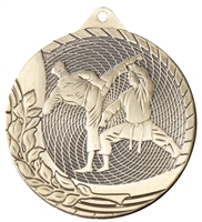 Laser Back<BR> Karate Medal<BR> Gold/Silver/Bronze<BR> 2 Inches