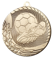 Laser Back<BR> Soccer Medal<BR> Gold/Silver/Bronze<BR> 2 Inches