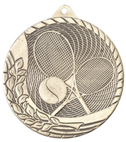 Laser Back<BR> Tennis Medal<BR> Gold/Silver/Bronze<BR> 2 Inches