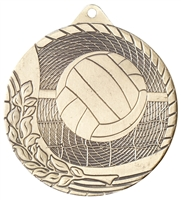 Laser Back<BR> Volleyball Medal<BR> Gold/Silver/Bronze<BR> 2 Inches