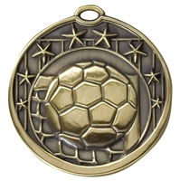 8 Star Series<BR> 2 Inch Soccer Medal<BR> Gold/Silver/Bronze