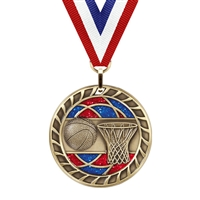 Glitter Basketball Medal<BR> Gold/Silver/Bronze<BR> 2.5 Inches