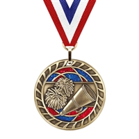 Glitter Cheerleading Medal<BR> Gold/Silver/Bronze<BR> 2.5 Inches