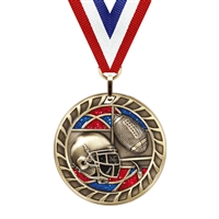 Glitter Football Medal<BR> Gold/Silver/Bronze<BR> 2.5 Inches