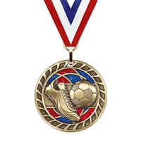 Glitter Soccer Medal<BR> Gold/Silver/Bronze<BR> 2.5 Inches