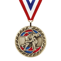 Glitter Wrestling Medal<BR> Gold/Silver/Bronze<BR> 2.5 Inches