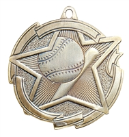 Star Baseball Medal<BR> Gold/Silver/Bronze<BR> 2.5 Inches