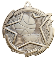 Star Basketball Medal<BR> Gold/Silver/Bronze<BR> 2.5 Inches