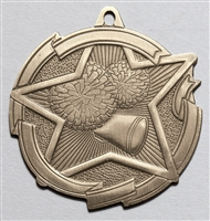 Star Cheerleading Medal<BR> Gold/Silver/Bronze<BR> 2.5 Inches