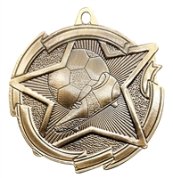 Star Soccer Medal<BR> Gold/Silver/Bronze<BR> 2.5 Inches