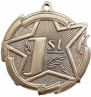 Star 1st Place Medal<BR> Gold<BR> 2.5 Inches