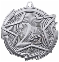 Star 2nd Place Medal<BR> Silver<BR> 2.5 Inches