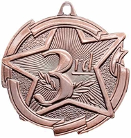 Star 3rd Place Medal<BR> Bronze<BR> 2.5 Inches