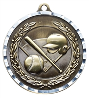 Diamond Cut<BR> Baseball Medal<BR> Gold/Silver/Bronze<BR> 2 Inches